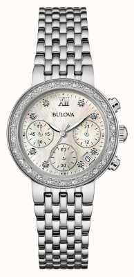 Bulova Para mujer de acero inoxidable conjunto de diamantes crono 96W204