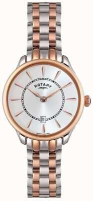 Rotary Damas se levantaron reloj en dos tonos de oro LB02917/02
