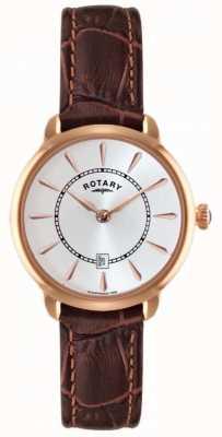 Rotary reloj de la correa de cuero marrón de las señoras LS02919/03