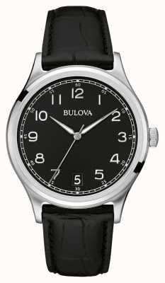 Bulova correa de cuero negro clásico caballeros 96B233