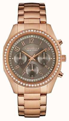 Caravelle New York Mujeres rosa cronógrafo de oro cristal 44L195