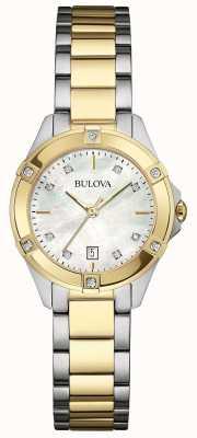 Bulova Señoras dos tonos reloj galería de diamantes 98W217
