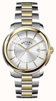 Rotary Mens dos tonos pulsera de acero inoxidable GB02771/06