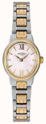 Rotary Para mujer esfera blanca pulsera de dos tonos LB02747/01