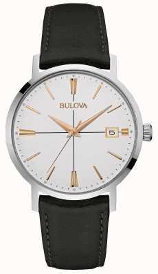 Bulova Mens esfera blanca correa de cuero negro 98B254