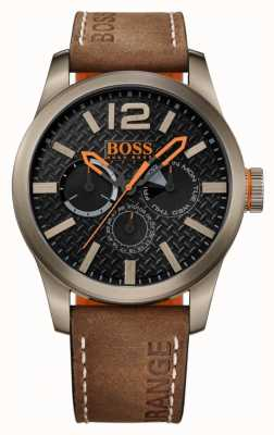 Hugo Boss Orange Mens parís correa de cuero marrón esfera de color negro 1513240