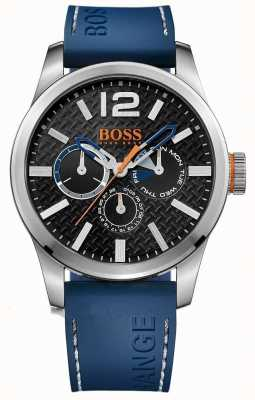 Hugo Boss Orange Mens parís esfera de color negro correa de caucho azul 1513250