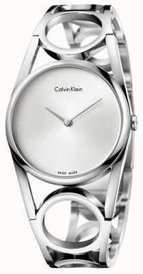 Calvin Klein Womens esfera plateada redonda de acero inoxidable K5U2S146