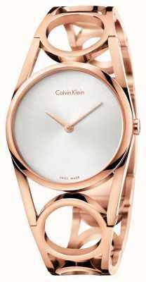 Calvin Klein Mujeres ronda rosa PVD chapado en oro esfera plateada K5U2S646