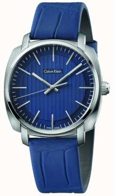 Calvin Klein Correa de cuero azul azul de línea para hombre highline K5M311VN