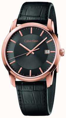 Calvin Klein Mens dial negro correa de cuero negro infinito K5S316C3