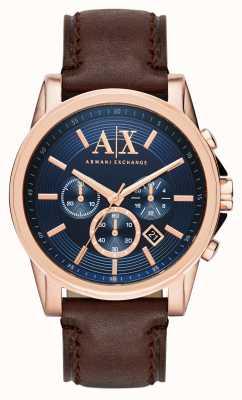 Armani Exchange Para hombre azul del cronógrafo de color marrón oscuro AX2508