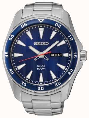 Seiko Mens azul de línea de acero inoxidable solar SNE391P1