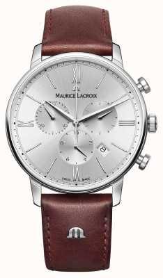 Maurice Lacroix Eliros fecha de cronógrafo de la correa de cuero EL1098-SS001-110-1
