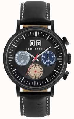 Ted Baker Para hombre de la correa de cuero negro Chrono esfera de color negro TE10023471