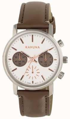 Kahuna Womens esfera blanca correa marrón KLS-0318L