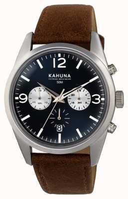 Kahuna Mens correa marrón crono esfera azul KCS-0011G