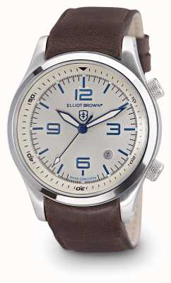 Elliot Brown Mens CANFORD esfera blanca de cuero marrón 202-001-L09