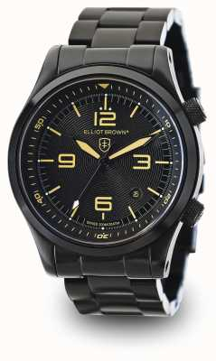 Elliot Brown Mens CANFORD PVD negro plateado esfera de color negro 202-002-B04