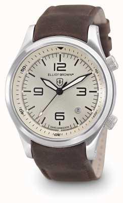 Elliot Brown Mens Canford dial de cuero marrón de marfil 202-003-L08