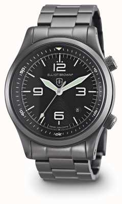Elliot Brown Mens PVD Canford pistola de metal plateado esfera de color negro 202-004-B05