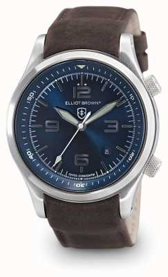 Elliot Brown Mens Canford esfera azul de cuero marrón 202-007-L07