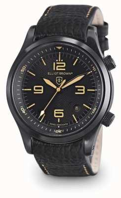 Elliot Brown Mens CANFORD esfera de color negro de cuero negro 202-008-L11