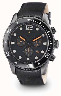 Elliot Brown Mens bloxworth esfera gris de cuero negro 929-004-L01