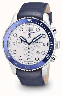 Elliot Brown Mens de cuero azul crema bloxworth dial 929-008-L06