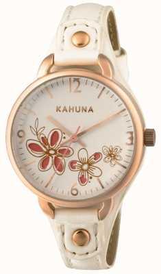 Kahuna Womens esfera blanca correa de cuero blanco KLS-0312L