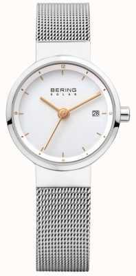 Bering Womens esfera blanca malla de acero inoxidable solar 14426-001