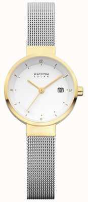 Bering Womens esfera blanca malla de acero inoxidable solar 14426-010