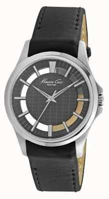 Kenneth Cole Mens dial negro correa de cuero negro KC10022286