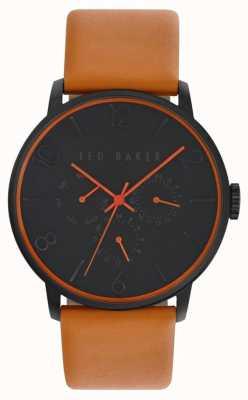 Ted Baker Mens dial negro correa de cuero marrón TE10023490