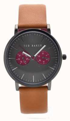 Ted Baker Mens esfera gris correa de cuero marrón TE10024783