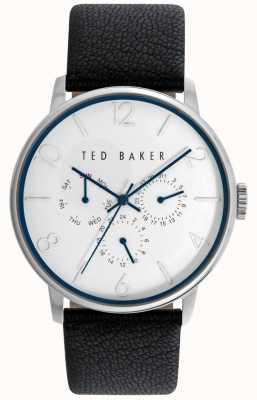 Ted Baker Para hombre esfera blanca correa de cuero negro TE10023491