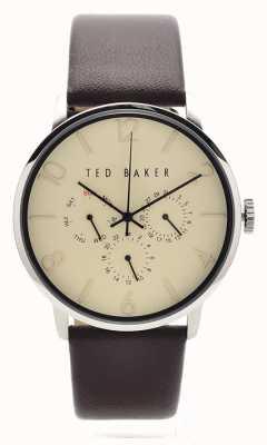 Ted Baker Mens de cuero marrón de línea crema correa TE10023493