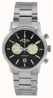 Rotary Mens vengador acero inoxidable esfera de color negro GB02730/04