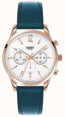 Henry London Correa de cuero verde Stratford Unisex HL39-CS-0144