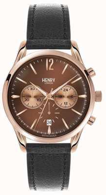 Henry London Grada unisex de cuero negro de línea correa marrón HL39-CS-0054