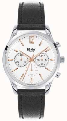 Henry London Highgate unisex de cuero negro esfera blanca HL39-CS-0009
