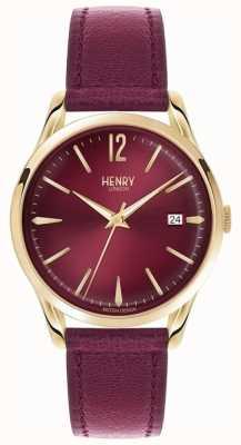 Henry London Unisex holborn burdeos de línea de cuero burdeos HL39-S-0066