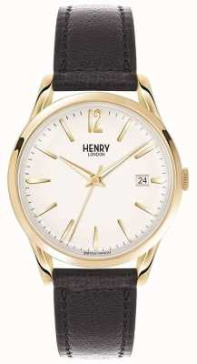 Henry London Westminster unisex de cuero negro esfera blanca HL39-S-0010