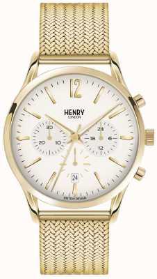 Henry London Mens westminster pvd oro malla plateado HL41-CM-0020