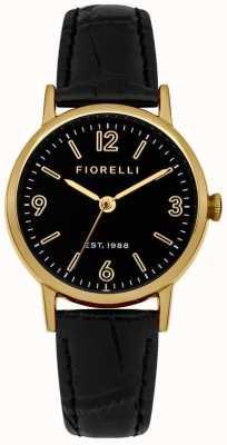 Fiorelli Womens dial negro correa de cuero negro FO015BG