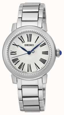 Seiko Dial blanco de acero inoxidable para mujer SRZ447P1
