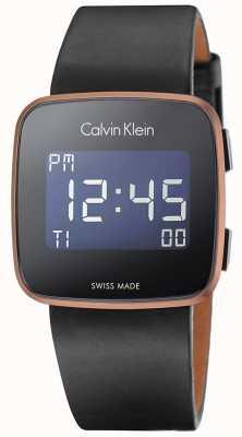 Calvin Klein Futuro unisex correa de cuero negro digitales K5C11YC1