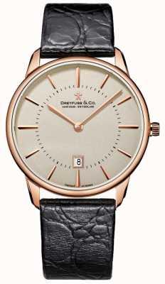 Dreyfuss Caballeros reloj de cuero negro DGS00139/46