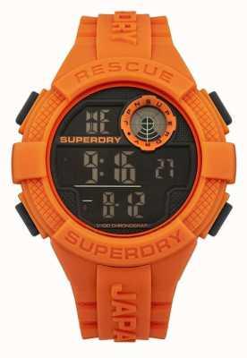 Superdry correa de caucho naranja digital de radar para hombre SYG193O