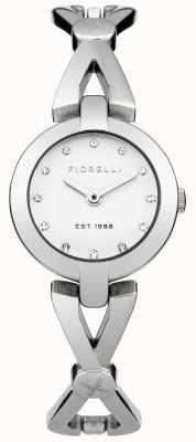 Fiorelli Womens esfera blanca pulsera de plata FO003SM